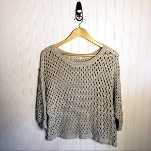 CAbi Pullover Open Knit Sweater Seaside Beige